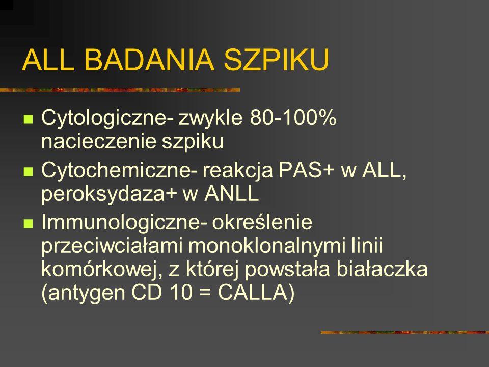 ALL BADANIA SZPIKU Cytologiczne- zwykle 80-100% nacieczenie szpiku