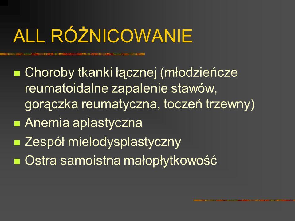 ALL RÓŻNICOWANIE Choroby tkanki łącznej (młodzieńcze reumatoidalne zapalenie stawów, gorączka reumatyczna, toczeń trzewny)