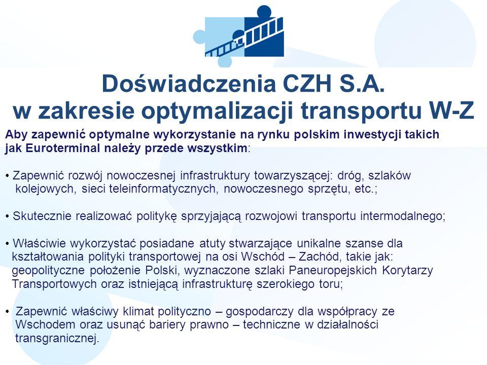 w zakresie optymalizacji transportu W-Z
