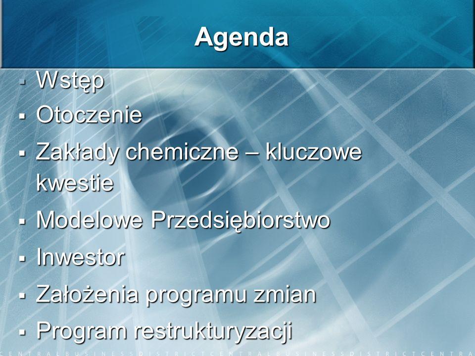 Agenda Wstęp Otoczenie Zakłady chemiczne – kluczowe kwestie