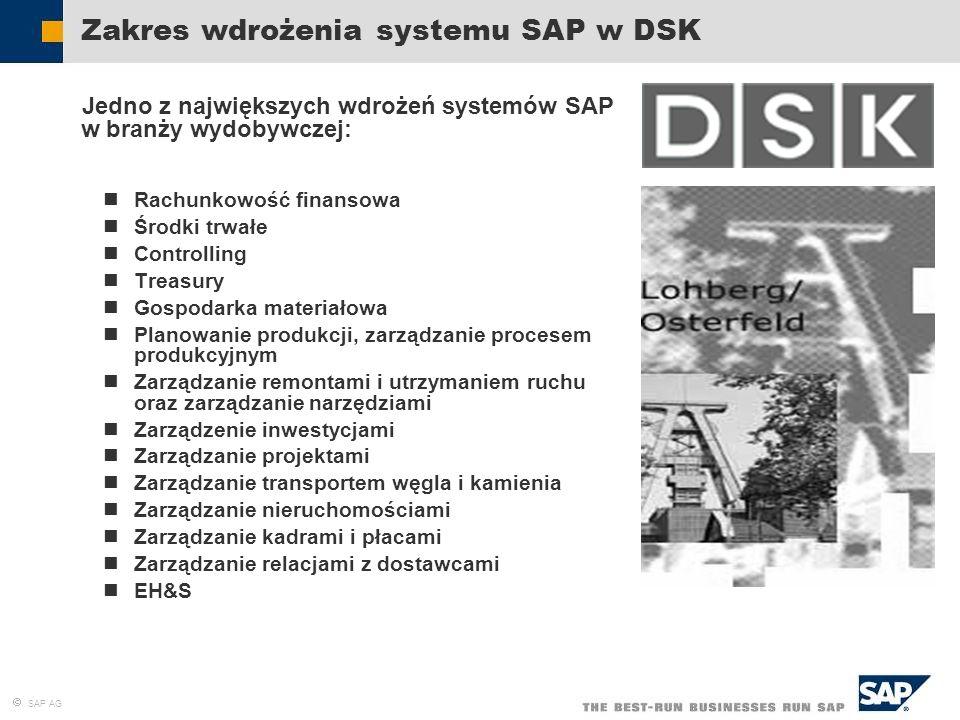 Zakres wdrożenia systemu SAP w DSK