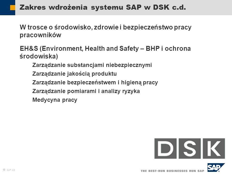 Zakres wdrożenia systemu SAP w DSK c.d.