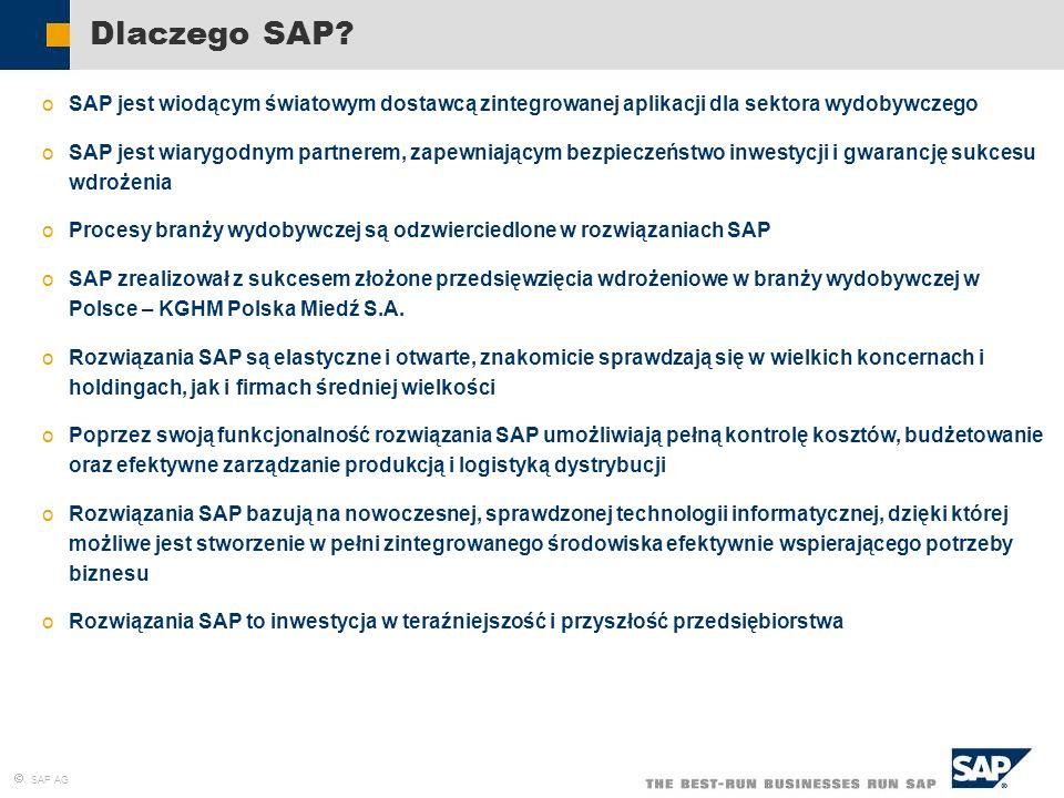 Dlaczego SAP SAP jest wiodącym światowym dostawcą zintegrowanej aplikacji dla sektora wydobywczego.