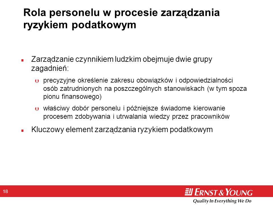 Rola personelu w procesie zarządzania ryzykiem podatkowym