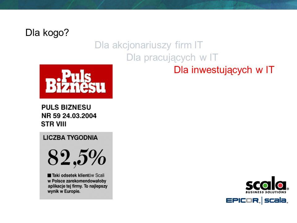 Dla kogo Dla akcjonariuszy firm IT Dla pracujących w IT Dla inwestujących w IT
