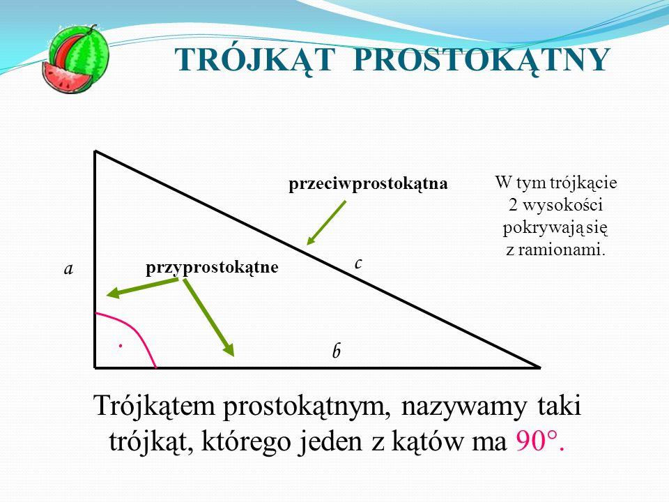 W tym trójkącie 2 wysokości pokrywają się z ramionami.