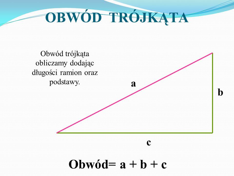 Obwód trójkąta obliczamy dodając długości ramion oraz podstawy.