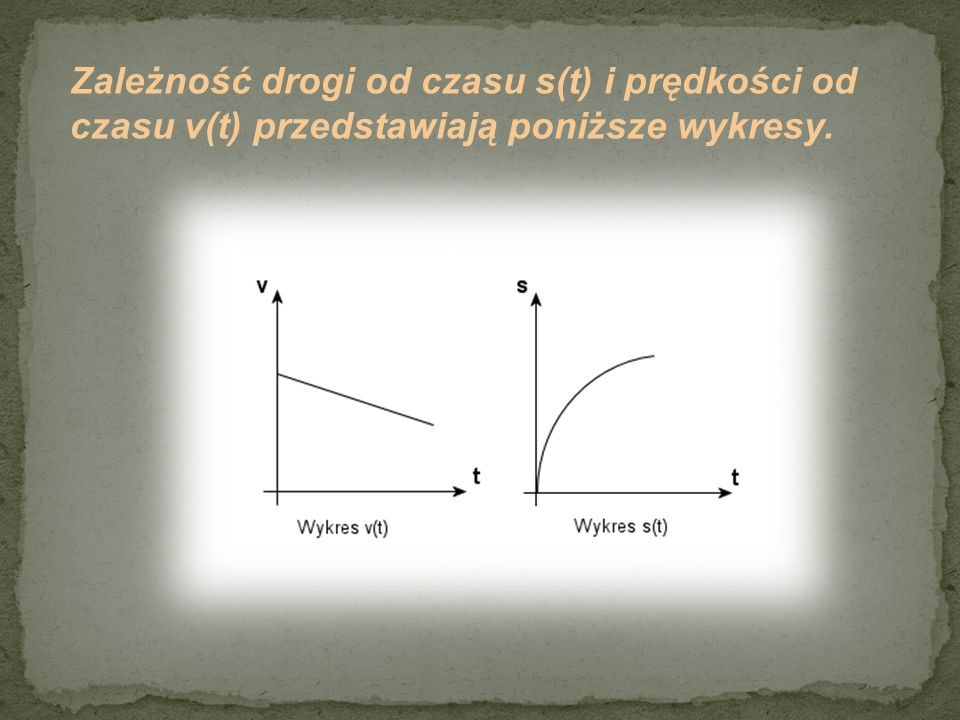 Zależność drogi od czasu s(t) i prędkości od czasu v(t) przedstawiają poniższe wykresy.