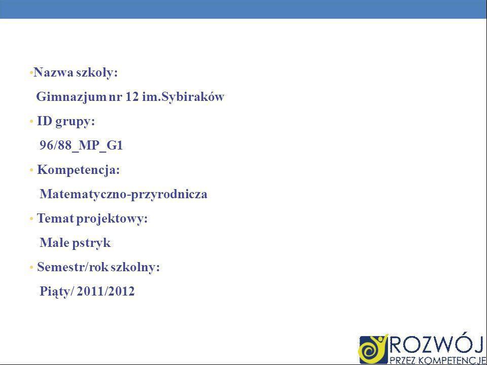 Nazwa szkoły: Gimnazjum nr 12 im.Sybiraków. ID grupy: 96/88_MP_G1. Kompetencja: Matematyczno-przyrodnicza.