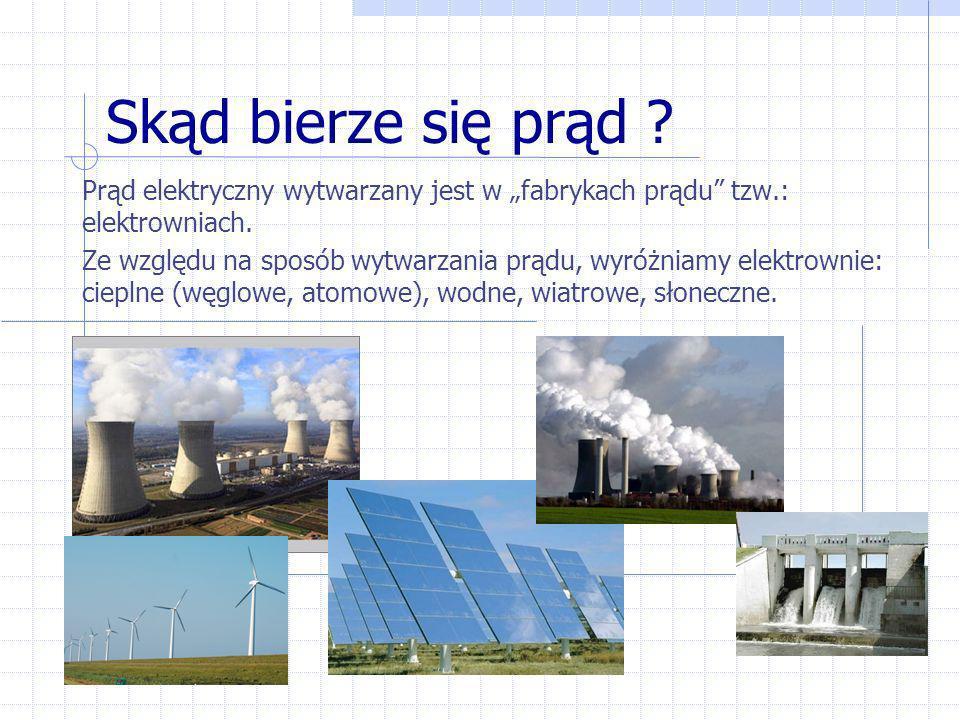 """Skąd bierze się prąd Prąd elektryczny wytwarzany jest w """"fabrykach prądu tzw.: elektrowniach."""
