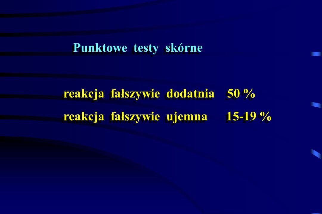 Punktowe testy skórne reakcja fałszywie dodatnia 50 % reakcja fałszywie ujemna 15-19 %