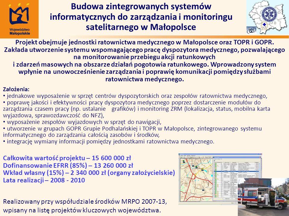 Budowa zintegrowanych systemów informatycznych do zarządzania i monitoringu satelitarnego w Małopolsce