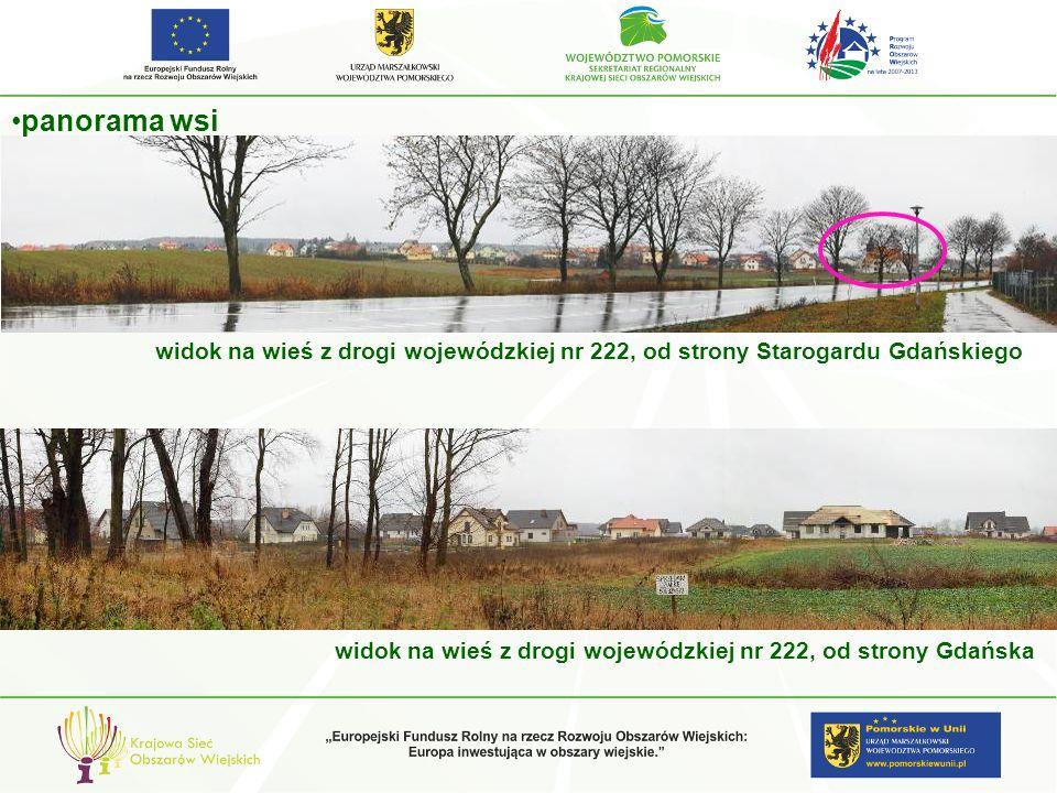panorama wsi widok na wieś z drogi wojewódzkiej nr 222, od strony Starogardu Gdańskiego.
