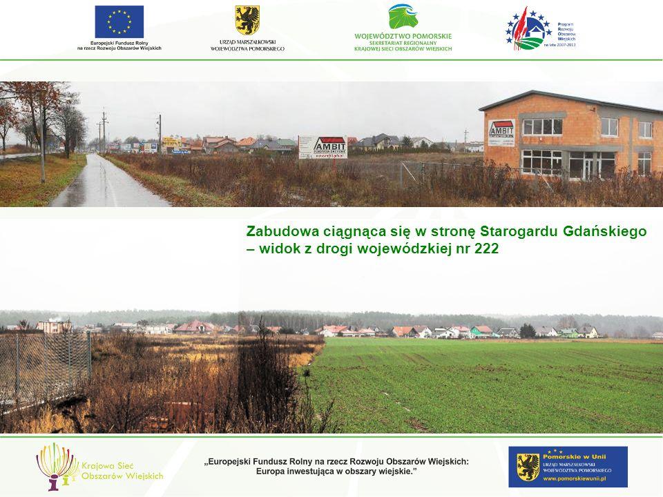 Zabudowa ciągnąca się w stronę Starogardu Gdańskiego