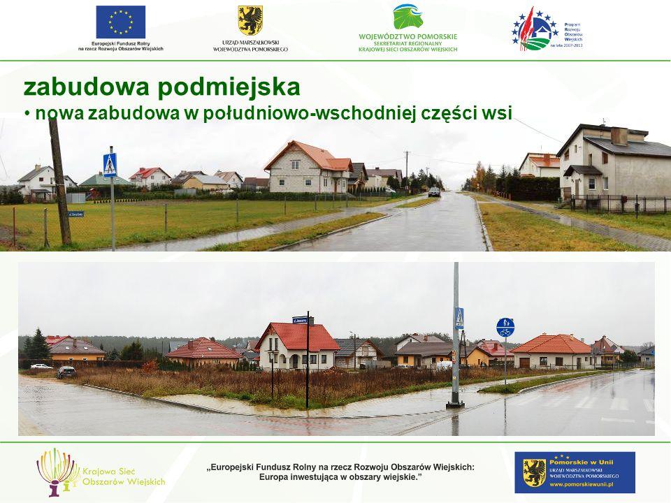zabudowa podmiejska nowa zabudowa w południowo-wschodniej części wsi