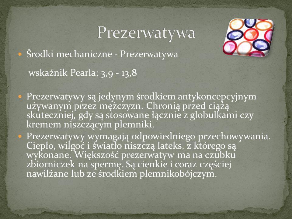 Prezerwatywa Środki mechaniczne - Prezerwatywa wskaźnik Pearla: 3,9 - 13,8.