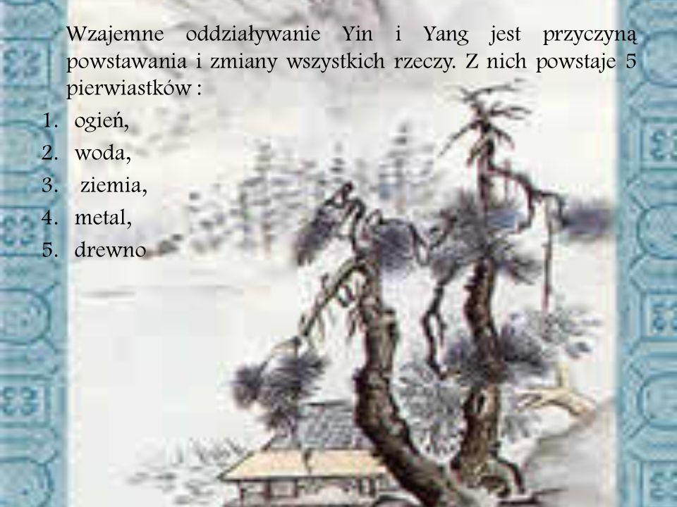 Wzajemne oddziaływanie Yin i Yang jest przyczyną powstawania i zmiany wszystkich rzeczy. Z nich powstaje 5 pierwiastków :