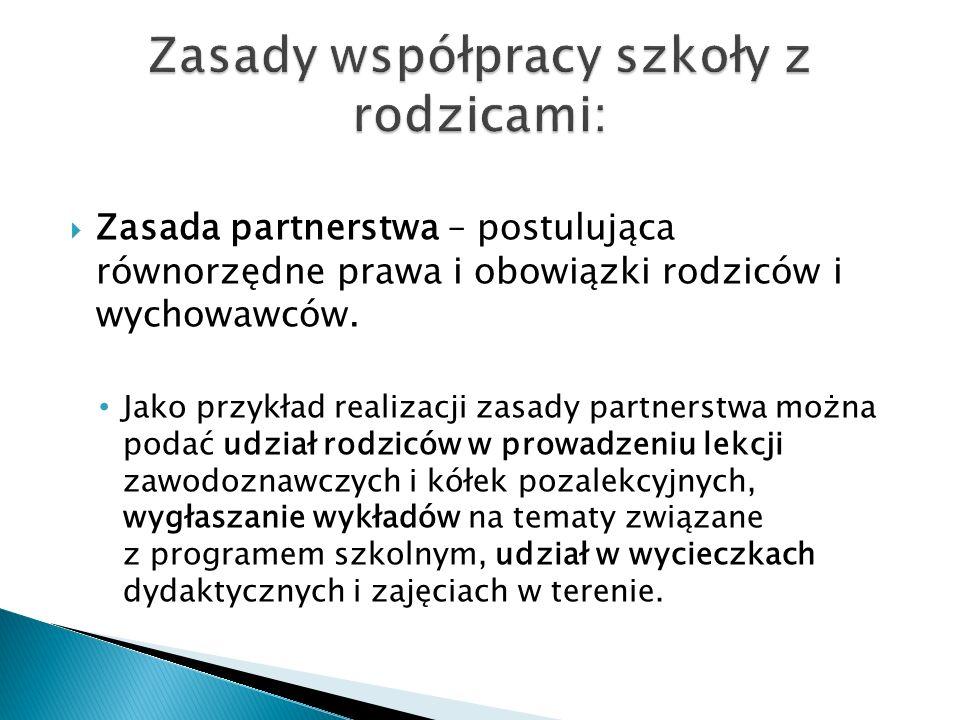 Zasady współpracy szkoły z rodzicami: