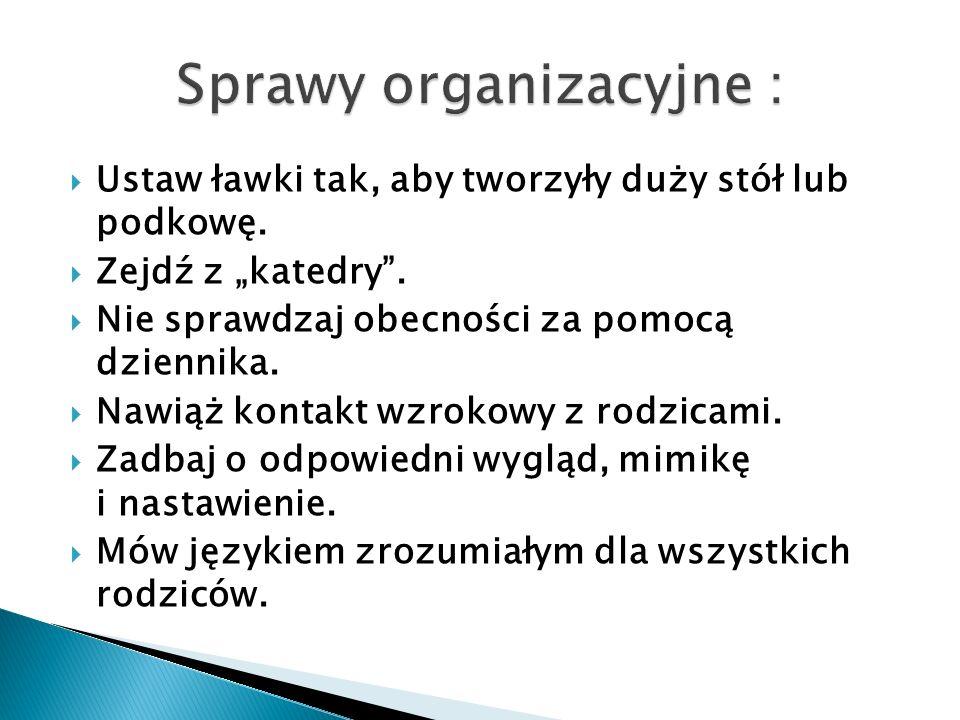 Sprawy organizacyjne :