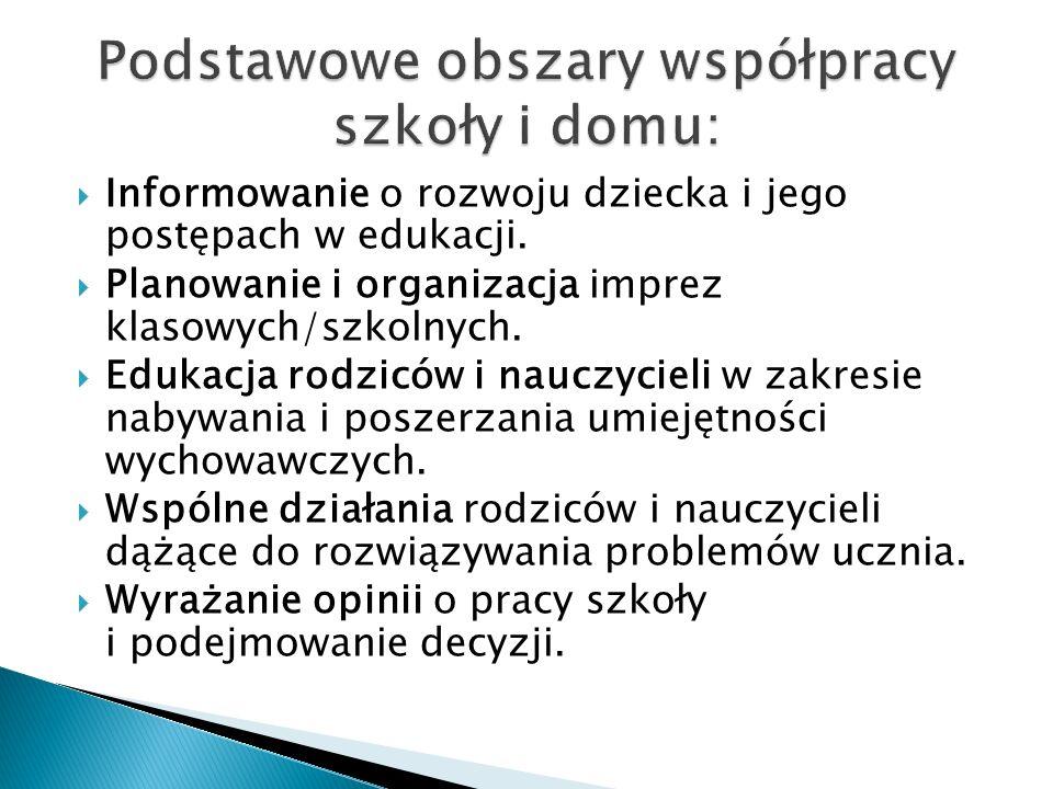 Podstawowe obszary współpracy szkoły i domu: