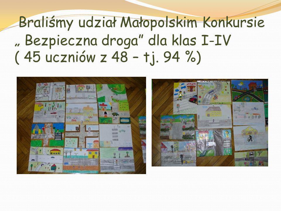 """Braliśmy udział Małopolskim Konkursie """" Bezpieczna droga dla klas I-IV ( 45 uczniów z 48 – tj."""