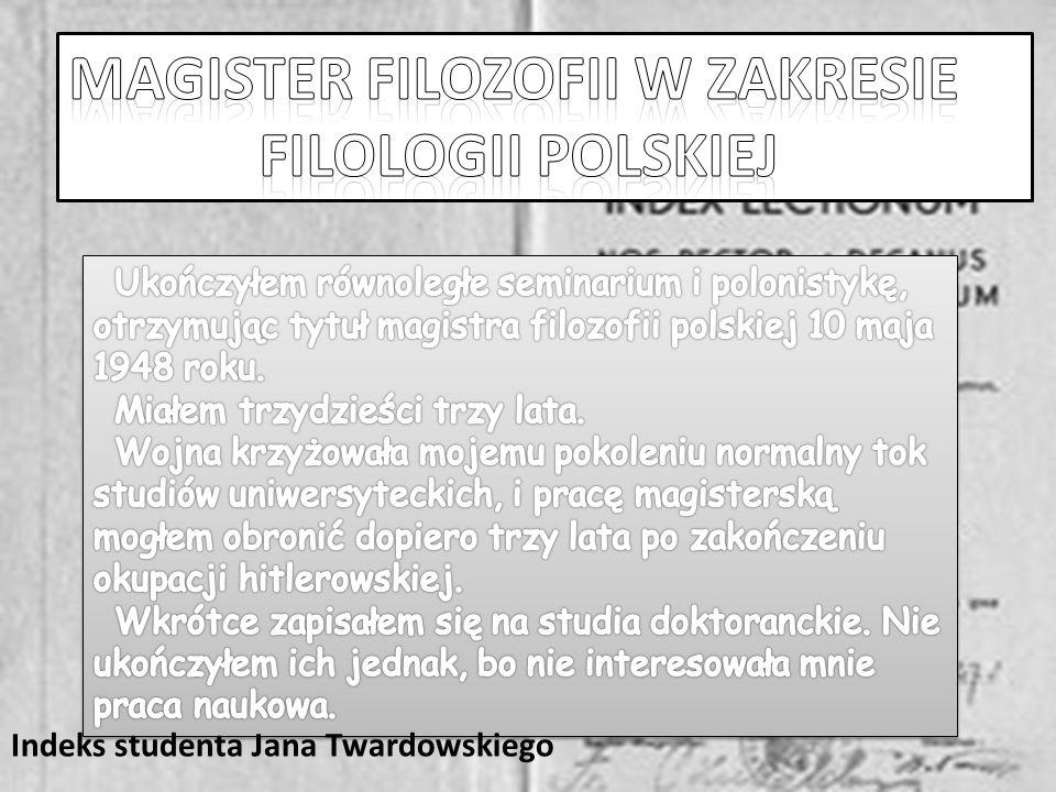 Magister filozofii w zakresie filologii polskiej