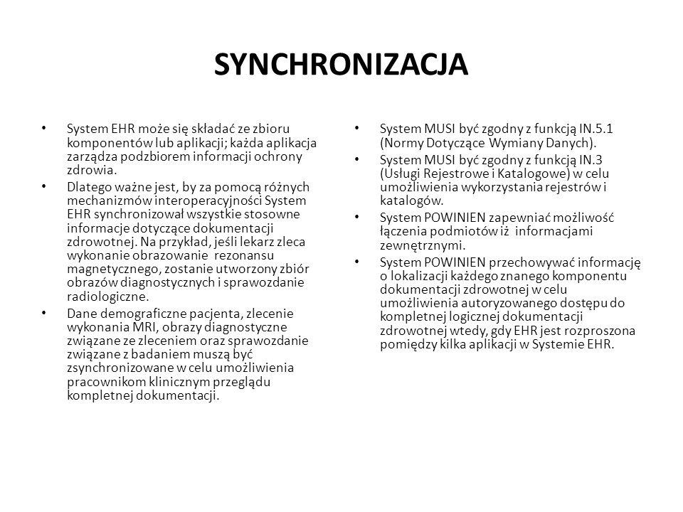 SYNCHRONIZACJASystem EHR może się składać ze zbioru komponentów lub aplikacji; każda aplikacja zarządza podzbiorem informacji ochrony zdrowia.