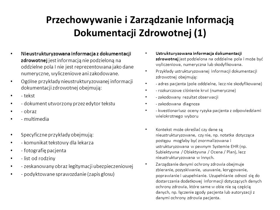 Przechowywanie i Zarządzanie Informacją Dokumentacji Zdrowotnej (1)