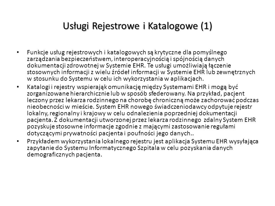 Usługi Rejestrowe i Katalogowe (1)