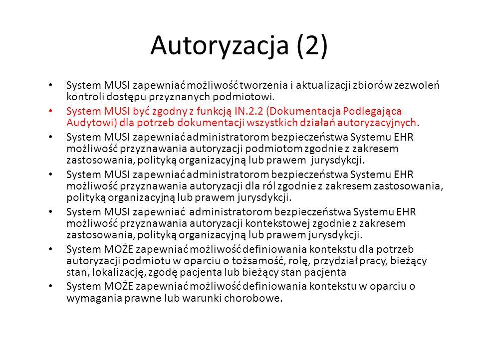 Autoryzacja (2)System MUSI zapewniać możliwość tworzenia i aktualizacji zbiorów zezwoleń kontroli dostępu przyznanych podmiotowi.