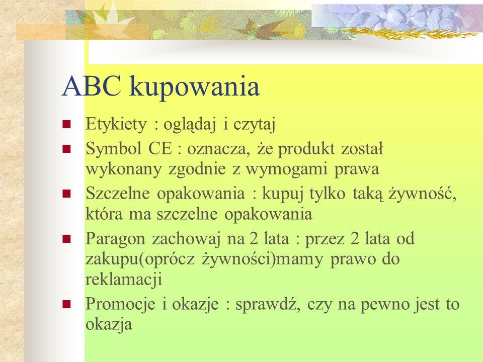 ABC kupowania Etykiety : oglądaj i czytaj