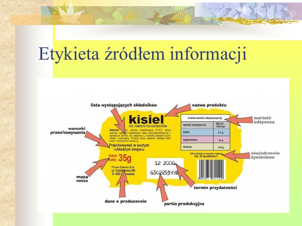 Etykieta źródłem informacji