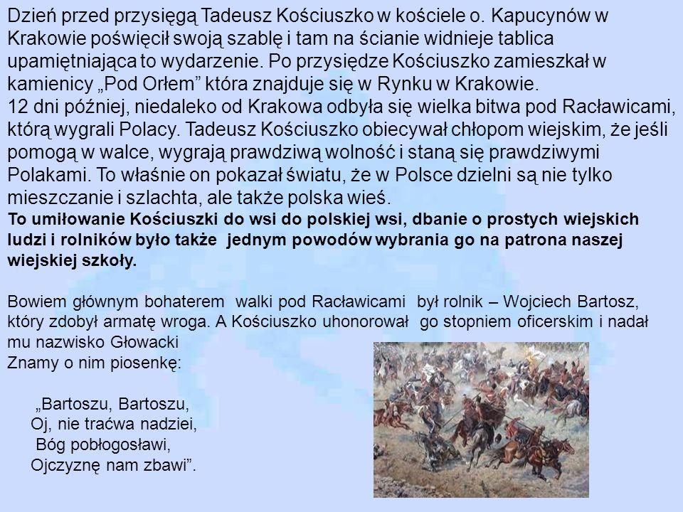 Dzień przed przysięgą Tadeusz Kościuszko w kościele o