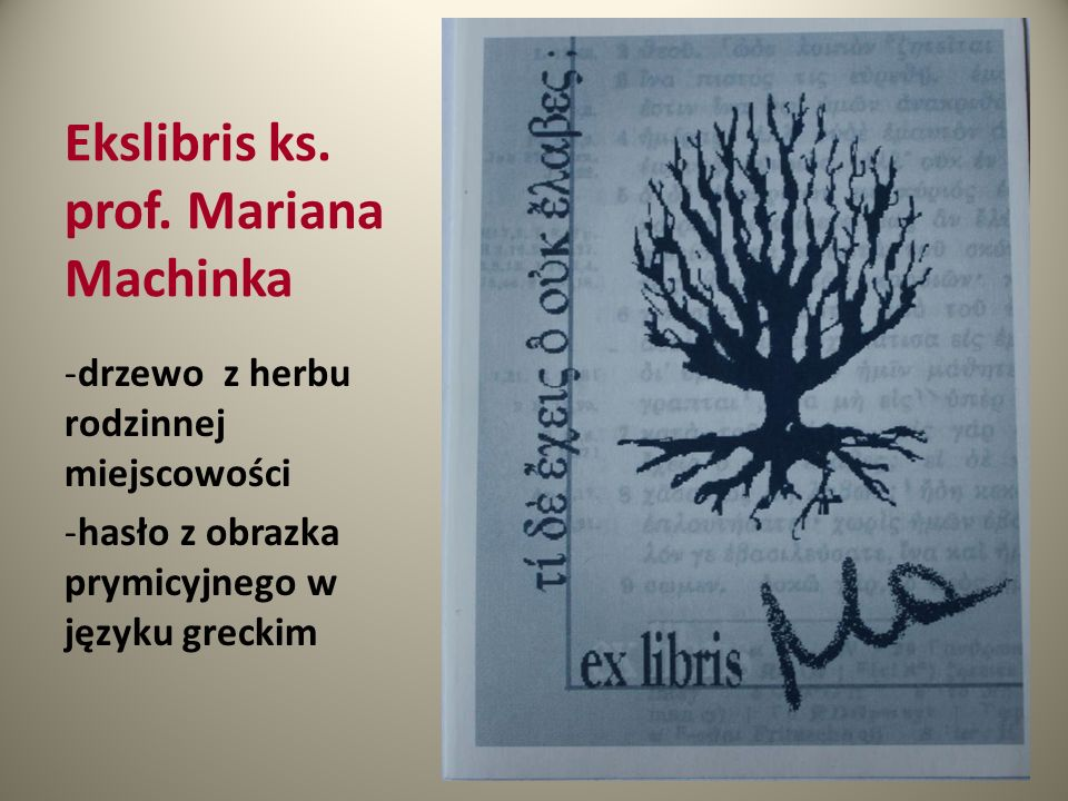 Ekslibris ks. prof. Mariana Machinka