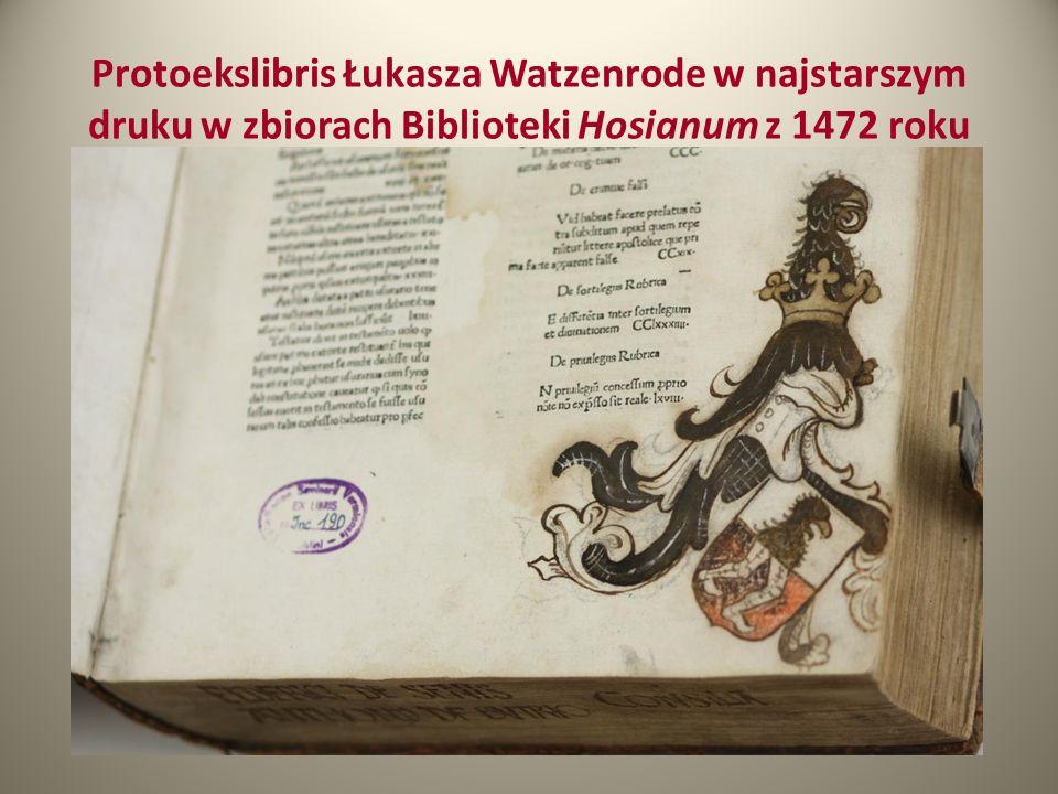 Protoekslibris Łukasza Watzenrode w najstarszym druku w zbiorach Biblioteki Hosianum z 1472 roku