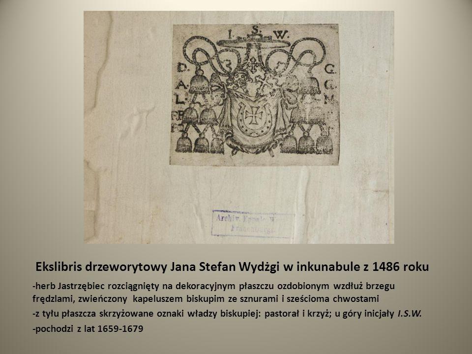 Ekslibris drzeworytowy Jana Stefan Wydżgi w inkunabule z 1486 roku