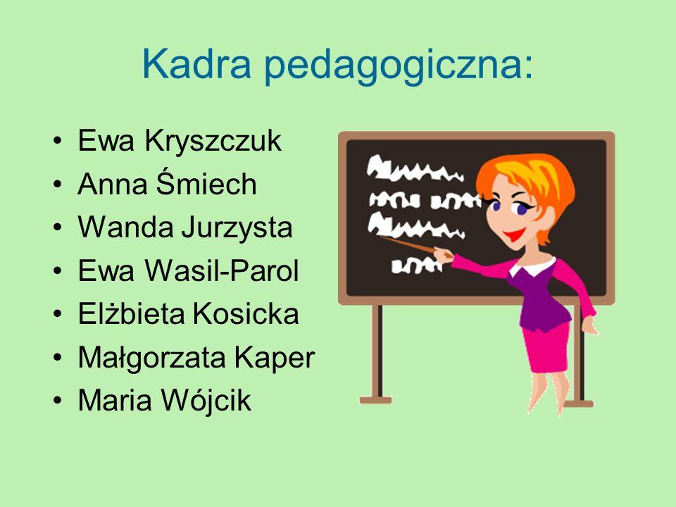 Kadra pedagogiczna: Ewa Kryszczuk Anna Śmiech Wanda Jurzysta