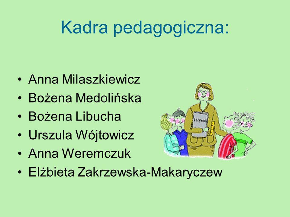 Kadra pedagogiczna: Anna Milaszkiewicz Bożena Medolińska