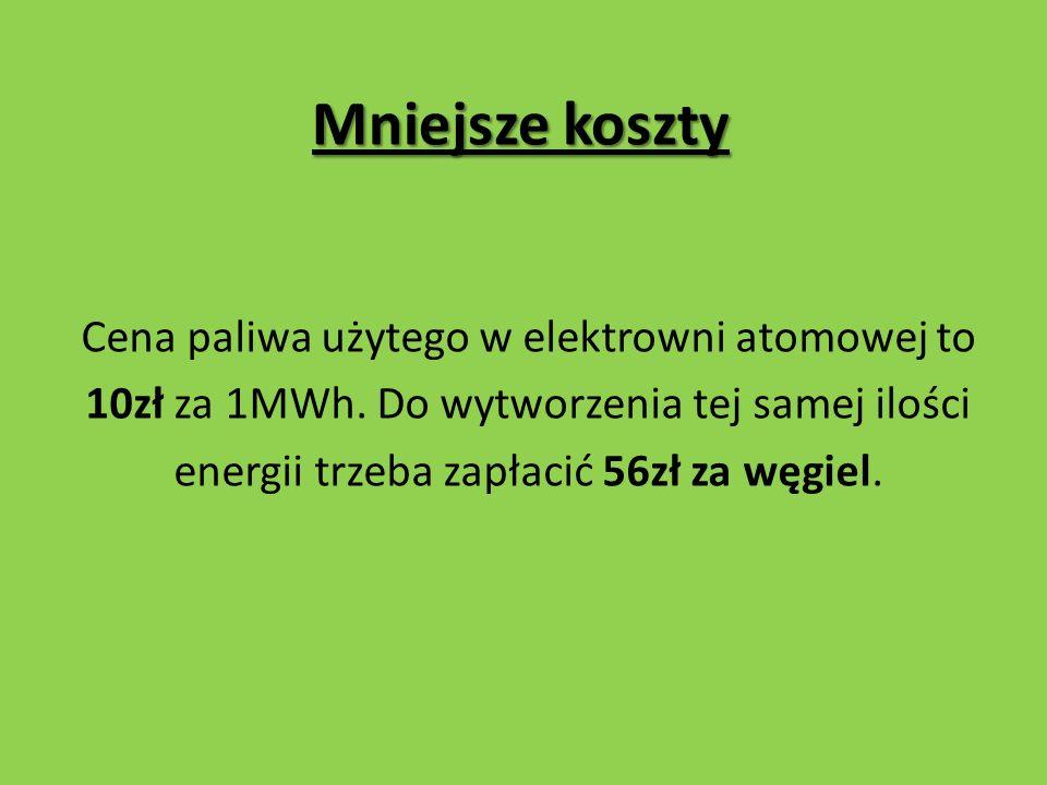 Mniejsze koszty Cena paliwa użytego w elektrowni atomowej to 10zł za 1MWh.