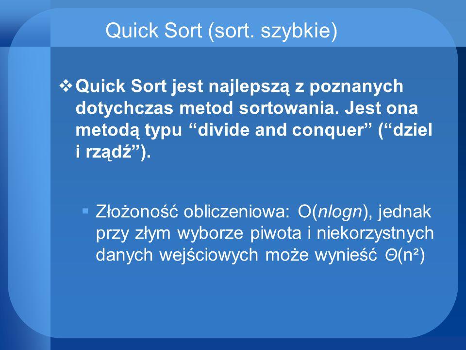 Quick Sort (sort. szybkie)