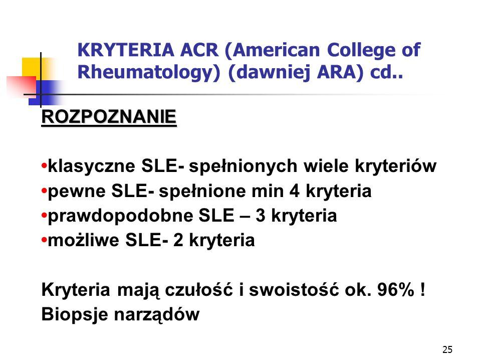 KRYTERIA ACR (American College of Rheumatology) (dawniej ARA) cd..