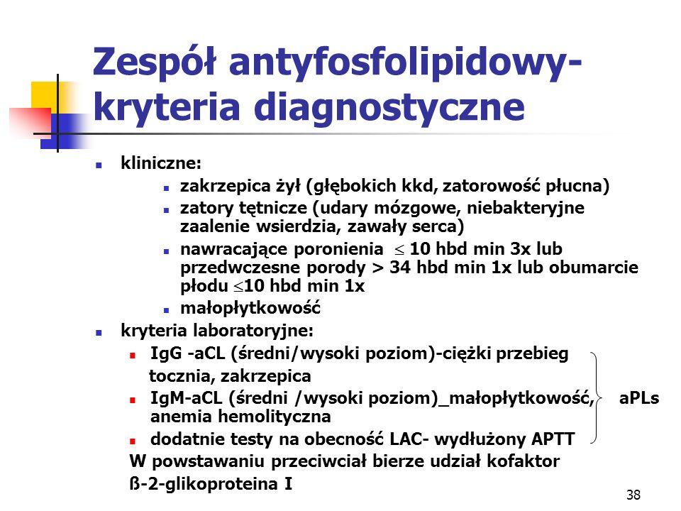 Zespół antyfosfolipidowy-kryteria diagnostyczne