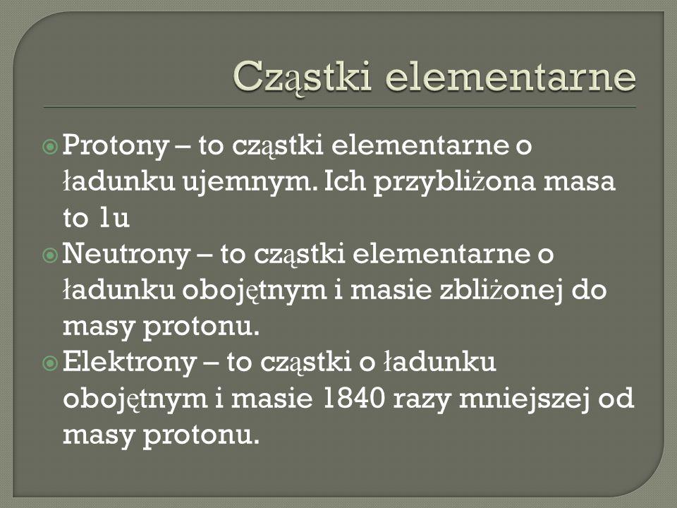 Cząstki elementarne Protony – to cząstki elementarne o ładunku ujemnym. Ich przybliżona masa to 1u.