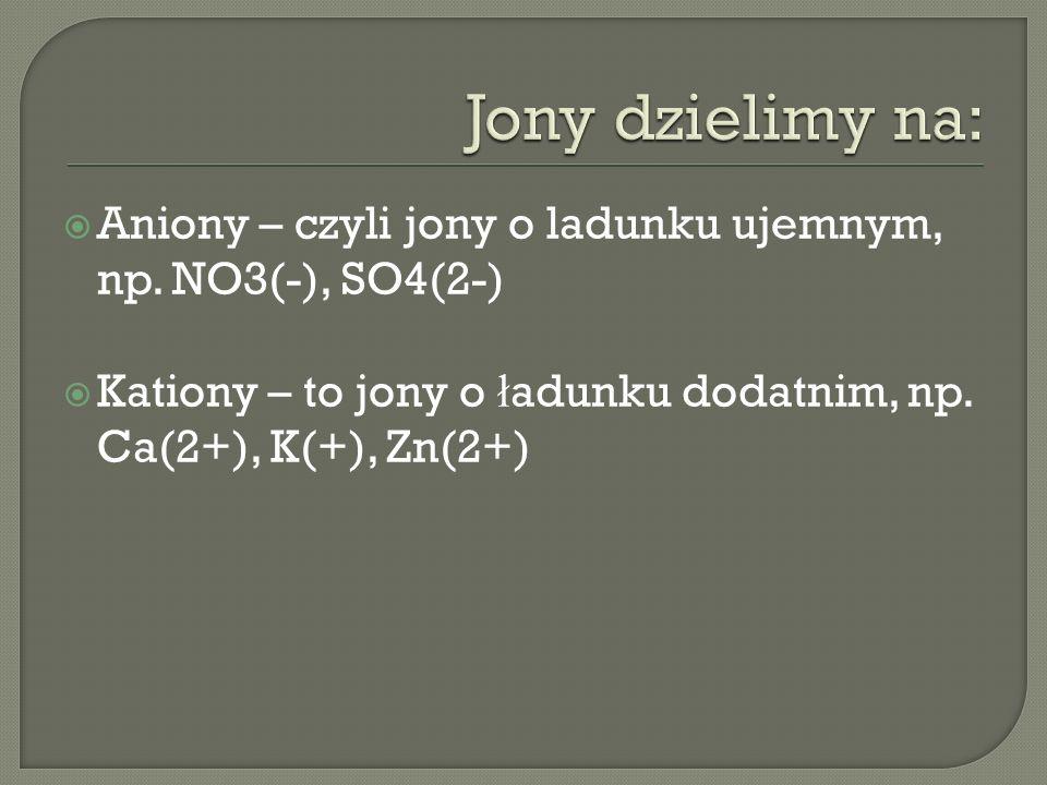 Jony dzielimy na: Aniony – czyli jony o ladunku ujemnym, np.