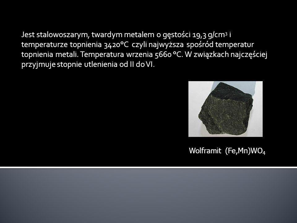 Jest stalowoszarym, twardym metalem o gęstości 19,3 g/cm3 i temperaturze topnienia 3420°C czyli najwyższa spośród temperatur topnienia metali. Temperatura wrzenia 5660 °C. W związkach najczęściej przyjmuje stopnie utlenienia od II do VI.