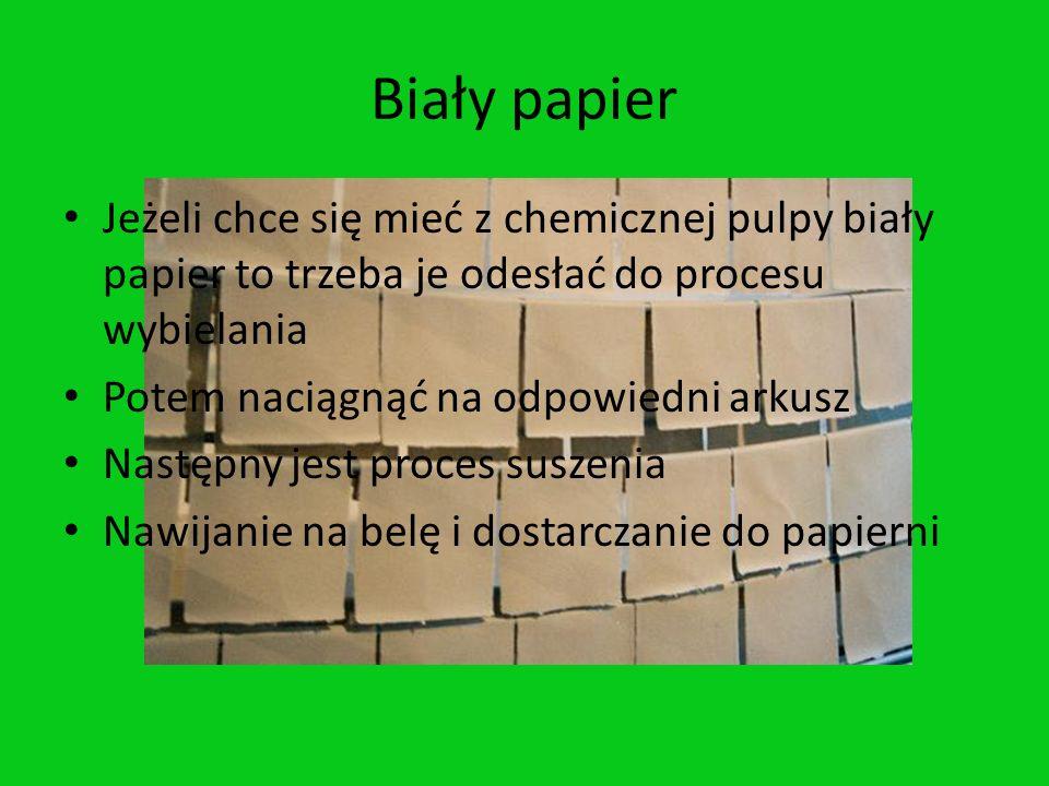 Biały papierJeżeli chce się mieć z chemicznej pulpy biały papier to trzeba je odesłać do procesu wybielania.