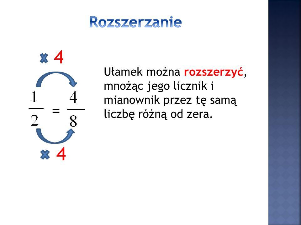 Rozszerzanie 4. Ułamek można rozszerzyć, mnożąc jego licznik i mianownik przez tę samą liczbę różną od zera.