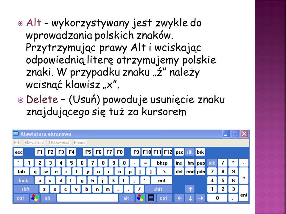 Alt - wykorzystywany jest zwykle do wprowadzania polskich znaków