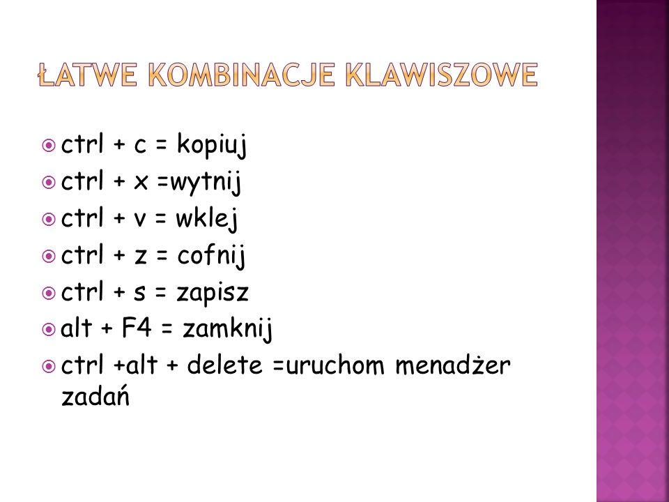 Łatwe kombinacje klawiszowe