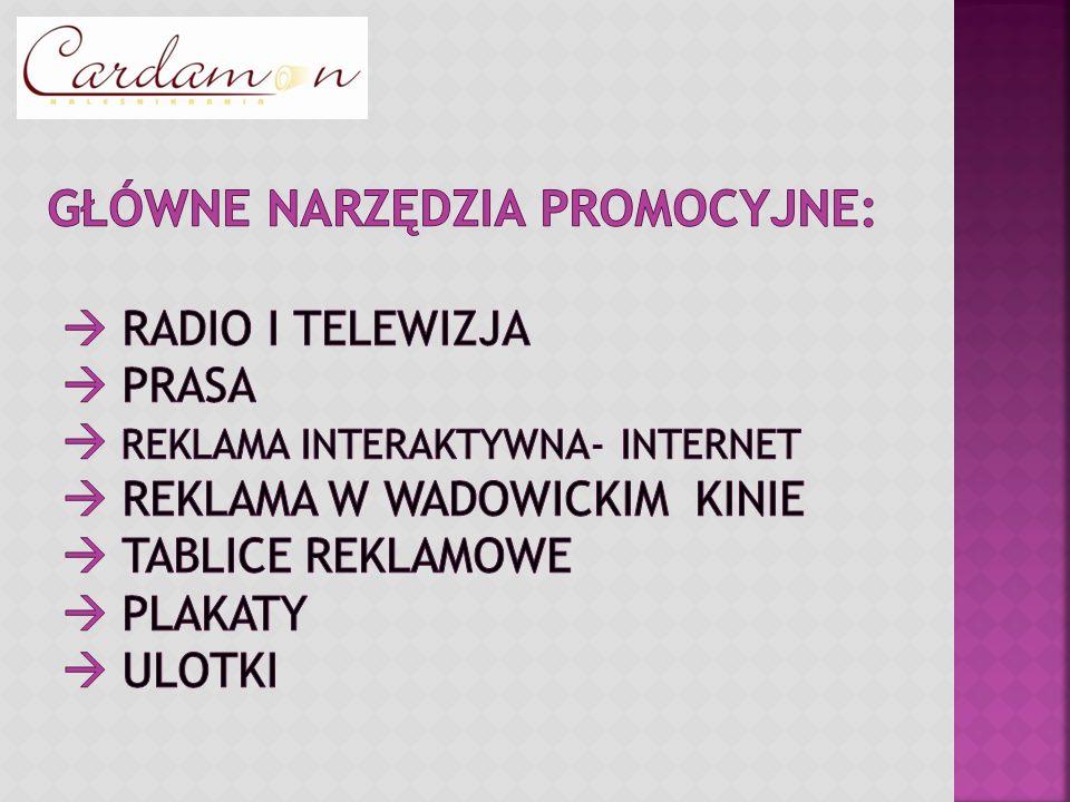 Główne narzędzia promocyjne:  Radio i telewizja  Prasa  Reklama interaktywna- Internet  Reklama w wadowickim kinie  tablice reklamowe  plakaty  ulotki